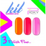 Set 3 polish fluo color  soak off  15ml  led/uv