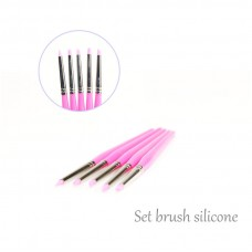 Kit 5 Silicon Brushes One Stroke 3D Nail Art