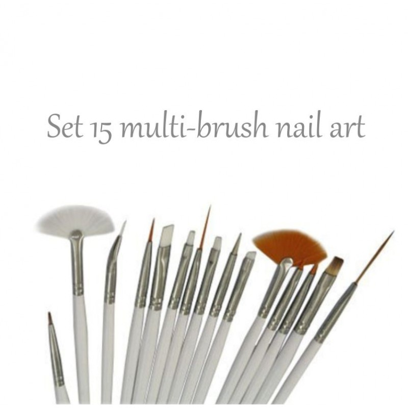 Kit 15 Nailart Brushes Acc Pen 9