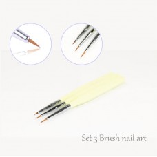Kit 3 Brushes micro-painting  perfect Striper nail art