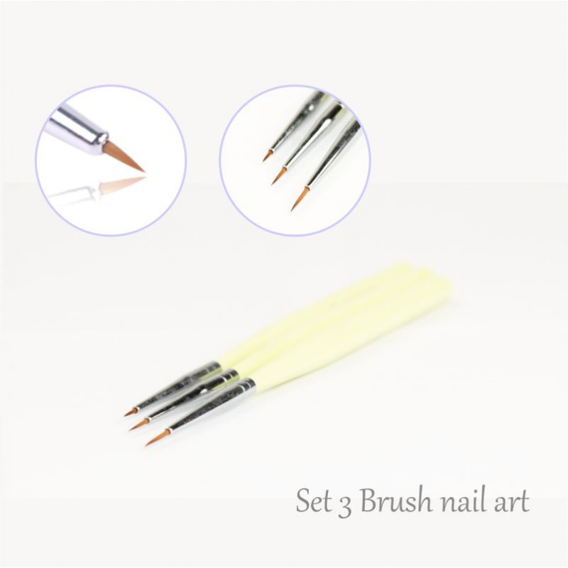 Kit 3 Nailart Micro Brushes Striper Acc Pen 10