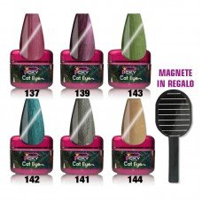 KIT Gel Cat eye UV Magnetic 5ml CAT THREE 6 COLORS with magnet Stripes