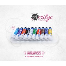 Set 10 Acrylic Colors for Micro-painting  Nail Art