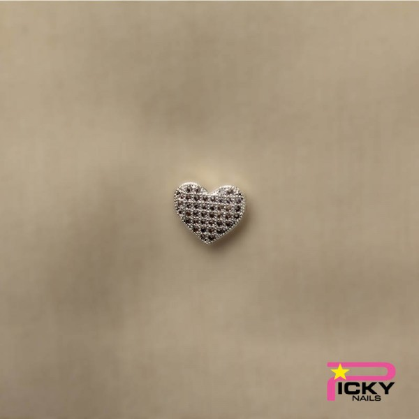 Silver Heart Jewel Nailart 3D